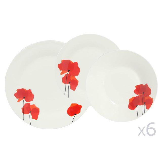 7e37c516227b75 Novastyl service de table 18 pièces en porcelaine forme ronde motif  coquelicots color flower