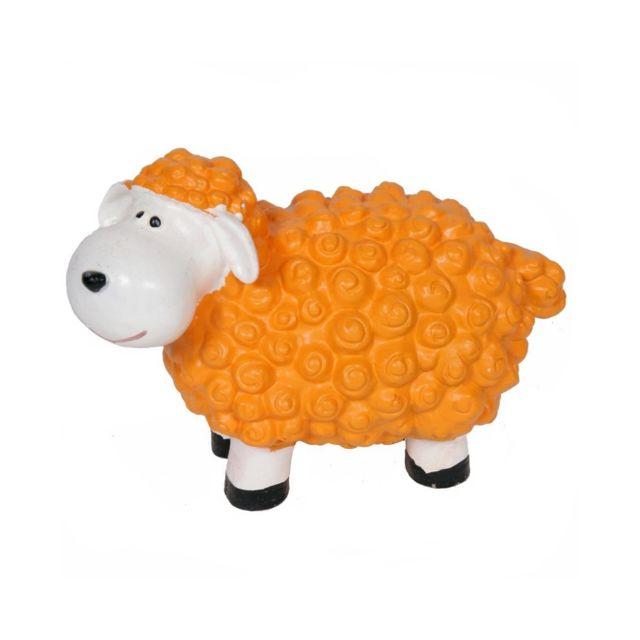 Statue en résine mouton orange - 19 cm