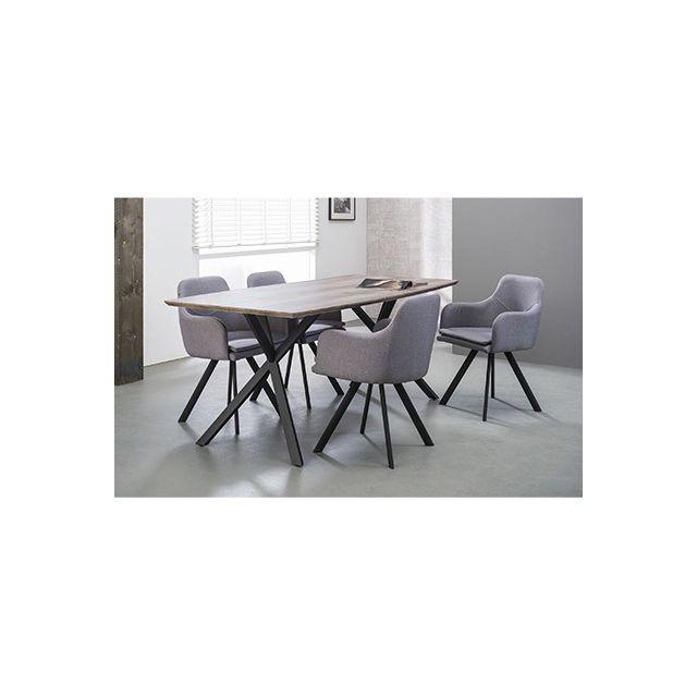 Table à manger 160x90cm piètement métal, plateau en Mdf 3D décor chêne + lo
