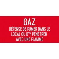 Editions Uttscheid - Gaz défense de fumer dans le local ou d'y pénétrer avec une flamme - Autocollant vinyl waterproof - L.200 x H.100 mm