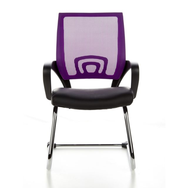 Siège de conférence Piètement luge Visto Net V, tissu maille noir violet, chromé