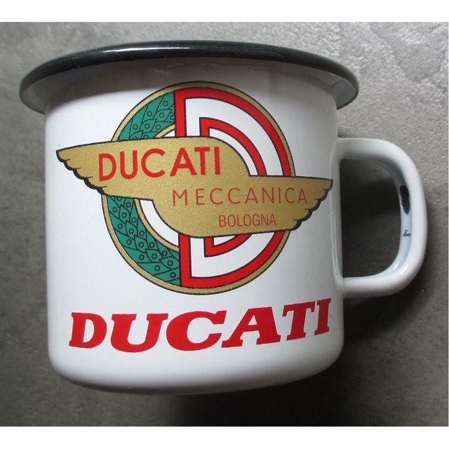 Universel Mug logo moto ducati méccanica blancen email tasse à café emaillée bar