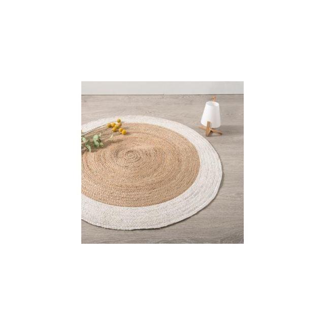 Tapis Rond Bord Blanc En Jute Vegetale D 120 Cm Pas Cher Achat