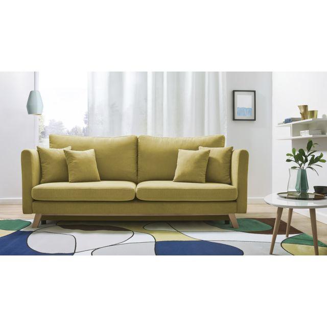 bobochic canap triplo 3 places convertible jaune 216cm x 105cm x 76cm achat vente. Black Bedroom Furniture Sets. Home Design Ideas