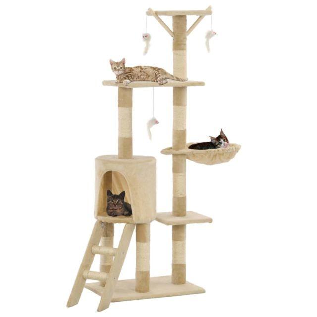 Vidaxl Arbre à chat avec griffoirs en sisal 138 cm Beige - Accessoires pour chats - Meubles pour chats | Beige | Beige
