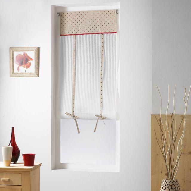 couleur montagne cdaffaires store droit passe tringle 60 x 150 cm voile rayures top imprime. Black Bedroom Furniture Sets. Home Design Ideas