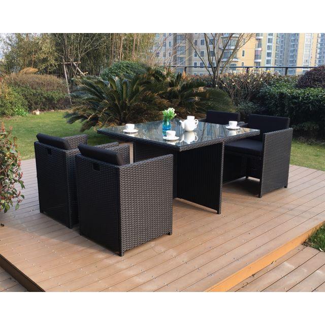 concept usine miami 4 noir noir ensemble 4 personnes en r sine tress e noire poly rotin. Black Bedroom Furniture Sets. Home Design Ideas