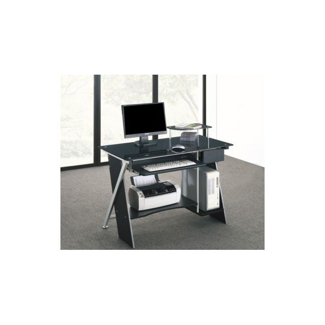vente unique bureau informatique pascal 1 tiroir verre tremp noir 110cm x 86cm x 58cm. Black Bedroom Furniture Sets. Home Design Ideas