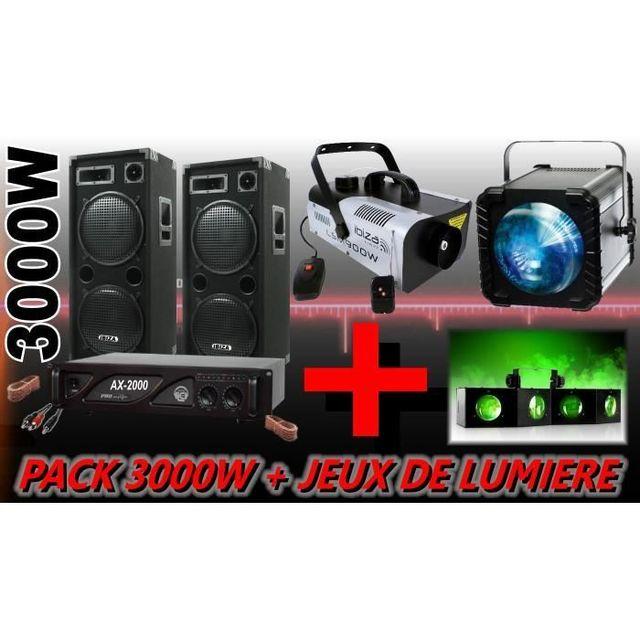 Ibiza Sound Pack Sono 3000W + Jeux De Lumiere2 Enceintes 1500W + 1 Ampli 2000W + CÂBLAGE Enceintes + Cable Pc Dj