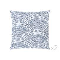 Kaligrafik - Coussin déhoussable coton/polyester motif rosace ethnique bleu 40x40cm - lot de 2 Imala