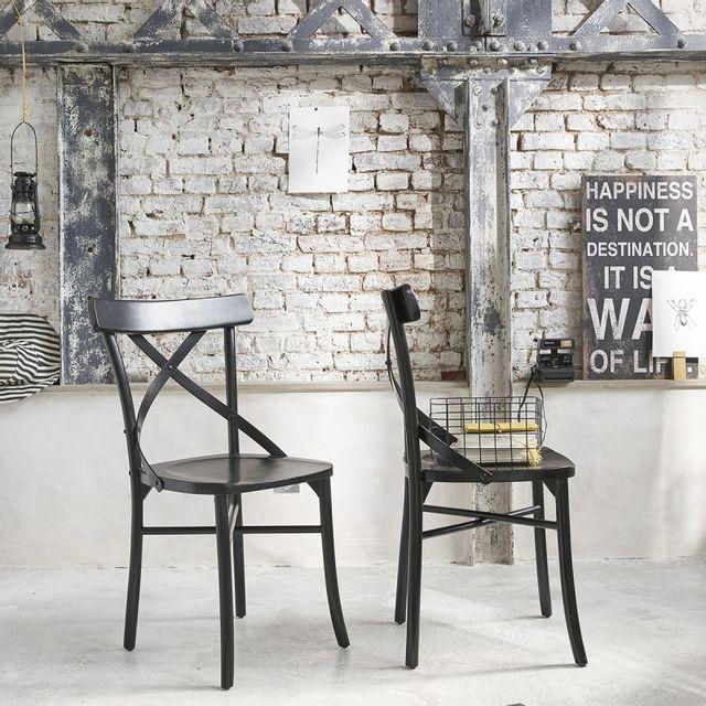 bois dessus bois dessous lot de 2 chaises noires bistrot en bois d 39 acajou londres pas cher. Black Bedroom Furniture Sets. Home Design Ideas