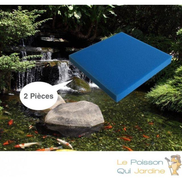 Le Poisson Qui Jardine Lot de 2 mousses : 50 X 50 X 5 alvéolage gros pour bassin et aquariums 30 ppi