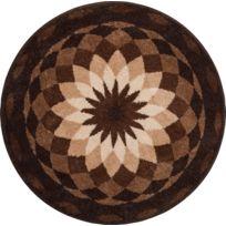 Tapis de salle de bain Garden Of Peace marron rond 60 cm