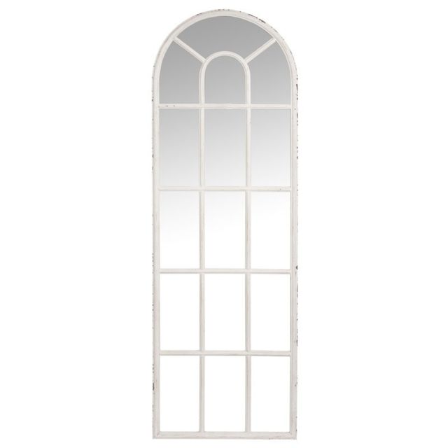 Tousmesmeubles Miroir fenêtre Métal blanc taille M - Uther