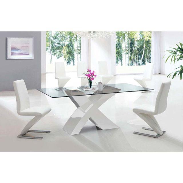 HABITAT ET JARDIN Table repas Mona - 200 x 90 x 75 cm - Blanc