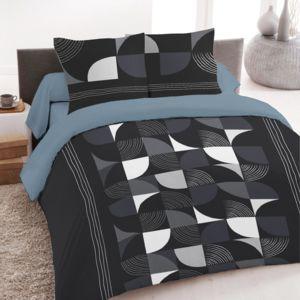 marque generique parure de lit 4 pi ces imprim techno 100 coton 57 fils noir blanc 300cm. Black Bedroom Furniture Sets. Home Design Ideas