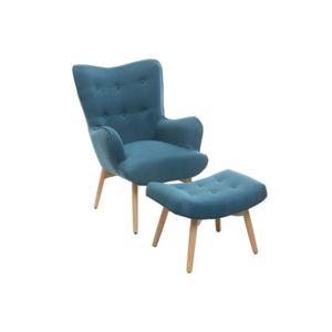miliboo fauteuil design scandinave et son repose pied bleu p trole et bois clair bristol pas. Black Bedroom Furniture Sets. Home Design Ideas