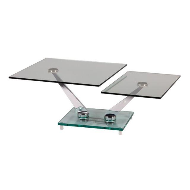 Tousmesmeubles Table basse articulée Métal/Verre - Meko
