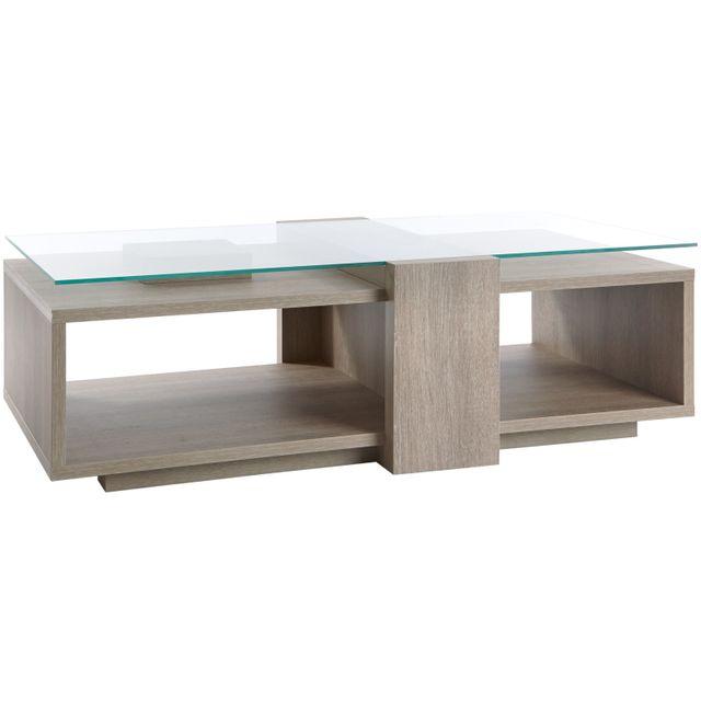 Comforium Table basse contemporaine 130 cm avec plateau en verre coloris chêne gris