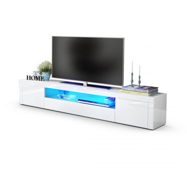 Mpc Meuble tv moderne laqué blanc 200 cm avec led