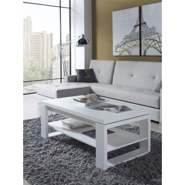 Sofamobili Table basse relevable blanc contemporaine Clive