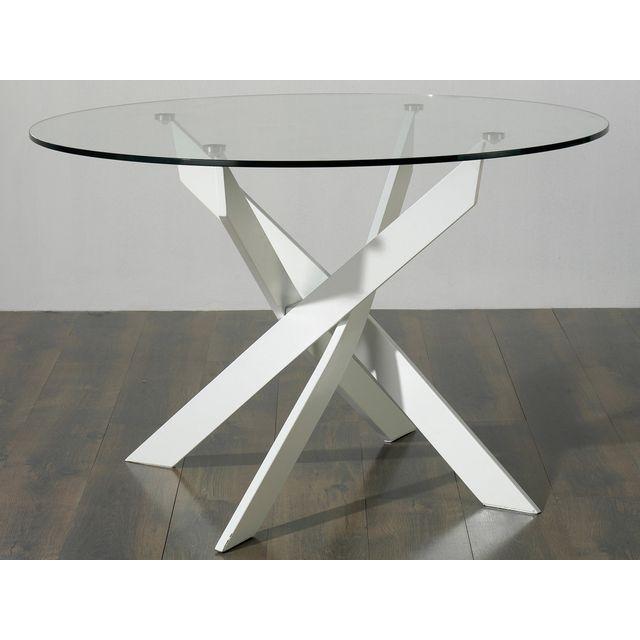 Marckeric Table Salle A Manger Design Metal Blanc Et Verre Ronde