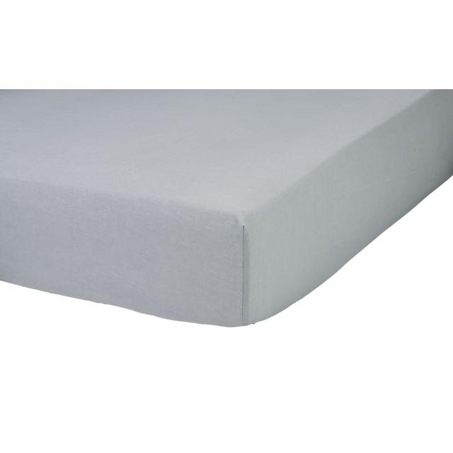 marque generique drap housse en polycoton gris 140cm x 190cm pas cher achat vente draps. Black Bedroom Furniture Sets. Home Design Ideas