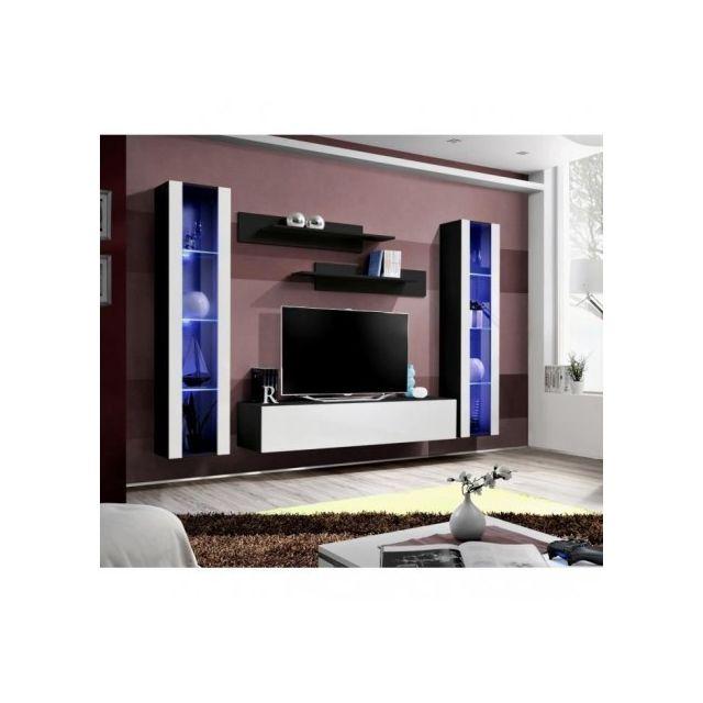 Price Factory Meuble Tv Fly A2 Design Coloris Noir Et Blanc
