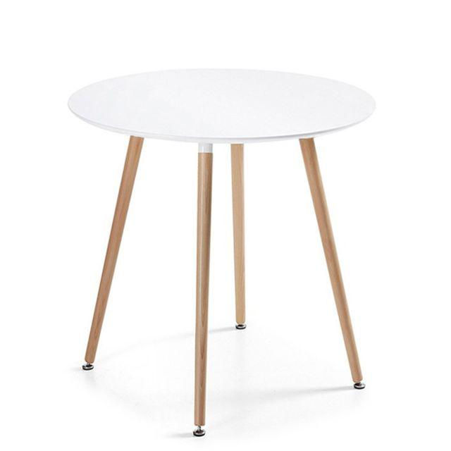 Oneboutic Table à manger ronde scandinave blanche 100cm - Alta
