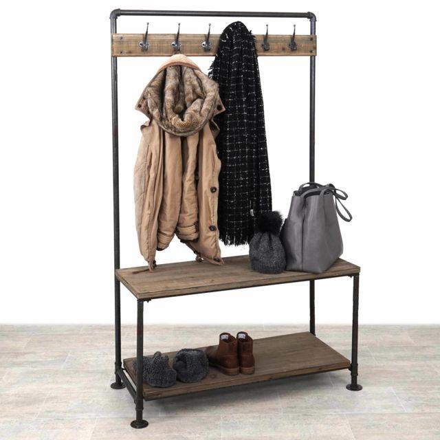 mendler garde robe hwc c10 penderie style campagne design industriel bois v ritable. Black Bedroom Furniture Sets. Home Design Ideas