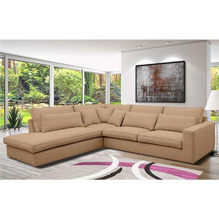 Canapé d'angle à gauche en tissu beige - Jeanne