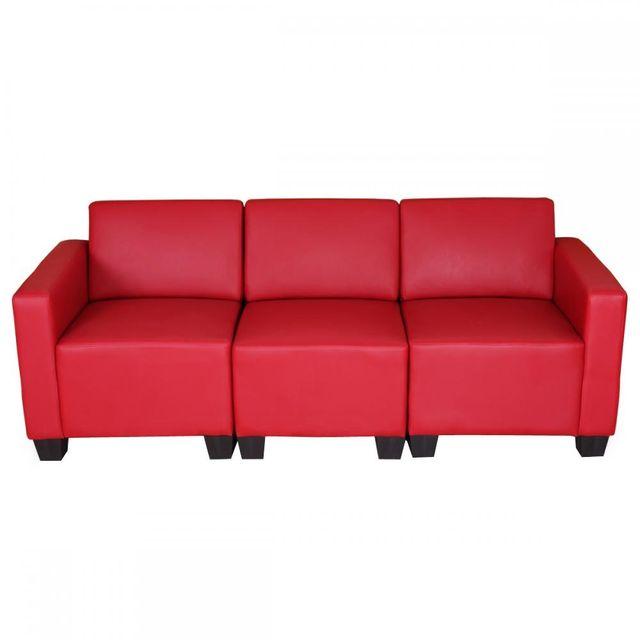 Mendler Canapé 3 places lounge/salon Lyon, système modulaire, simili-cuir, rouge