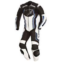 Bering - combinaison moto Supra-r cuir homme entrainement et Pro noir-bleu Bcc032 4XL 58 Fr