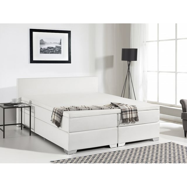 beliani lit boxspring en similicuir sommier et matelas ressorts blanc 160x200 cm. Black Bedroom Furniture Sets. Home Design Ideas