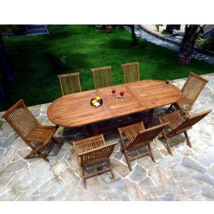 wood en stock salon de jardin en teck huil pour 8 10 personnes table ovale bois pas cher. Black Bedroom Furniture Sets. Home Design Ideas