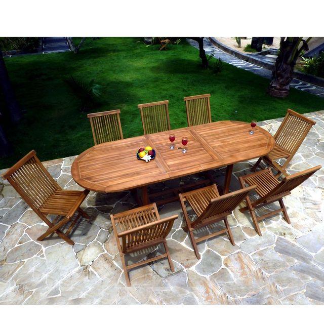 Wood En Stock - salon de jardin en teck huilé pour 8-10 personnes ...