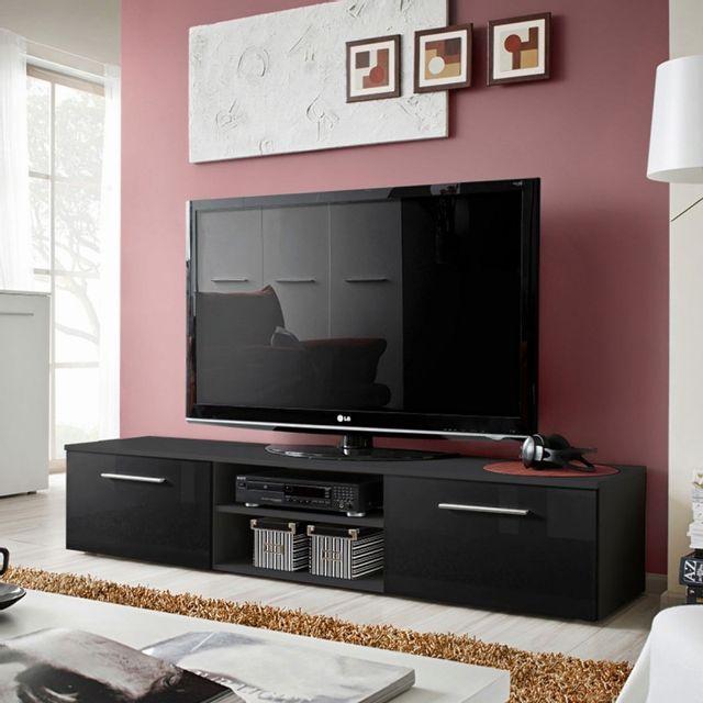 Meubles Meuble Tv Design Bono Ii 180cm Prunier Blanc Paris
