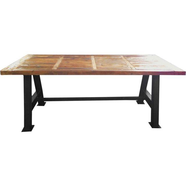 ANTIC LINE CREATIONS - Grande table industrielle bois et métal 200 cm Multicolore - 200cm x 78cm x 100cm - Non extensible