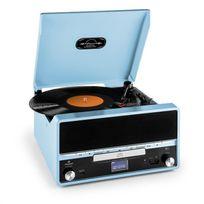AUNA - RTT 1922 chaîne HiFi rétro MP3 CD USB FM AUX mode enregistremement - bleu