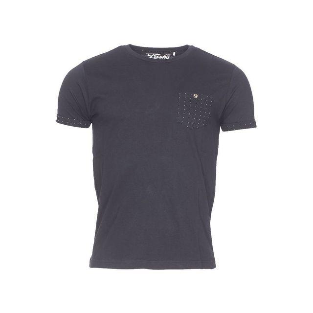 Fresh brand tee shirt col rond the noir poche poitrine for Fresh brand t shirts