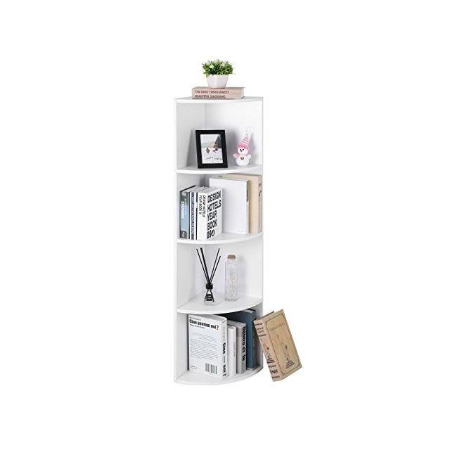 étagère D Angle à 4 Niveaux étagères De Rangement Autoportantes Bibliothèque En Bois Pour Cuisine Chambre Salon Bureau Blanche Lbc42wt