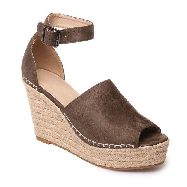fashion styles info for huge discount Lamodeuse - Sandales en suédine kaki corde tressée - pas ...