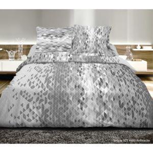 univers decor parure de draps 4 pi ces pour lit 140 x 190 cm imany anthracite 100 coton 57. Black Bedroom Furniture Sets. Home Design Ideas