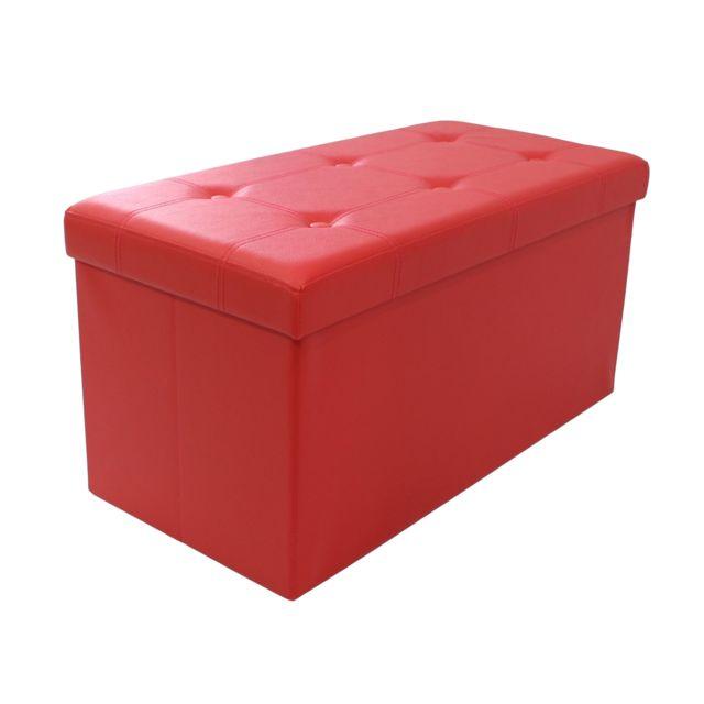 Storaddict Ottoman avec Espace de Stockage, Banc Pliant, Finition piquée et capitonnée, 76 x 38 x 38 cm, Rouge, Charge maximale: 15