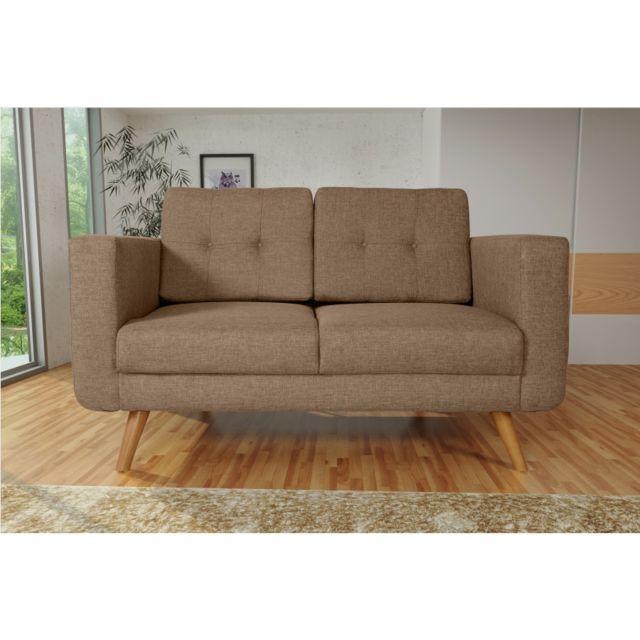 Rocambolesk Canapé Hedvig 2 savana 25 brun pieds naturels sofa divan
