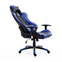 HOMCOM - Fauteuil de bureau manager grand confort style baquet Racing pivotant inclinable avec coussins bleu électrique noir neuf 37BU