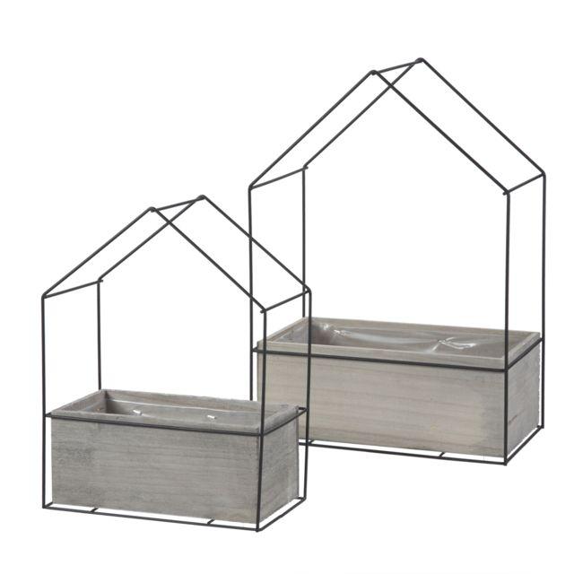 Marque Generique - Lot de 2 pots de fleur, jardinières design industriel en forme de maison intérieur plastifié Marron