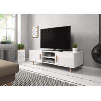 Vivaldi - Sweden 2 Meuble Tv style scandinave blanc mat avec blanc laqué haute brillance