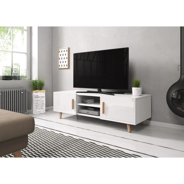 vivaldi sweden 2 meuble tv style scandinave blanc mat avec blanc brillant