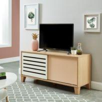 Meuble Tv Meuble Hi Fi Openwork Meuble Tv Scandinave Decor Chene Blanc Et Rose L 120 Cm
